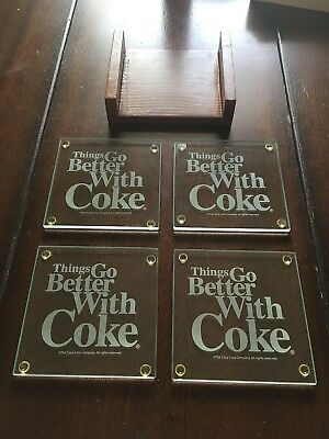 Things Go Better with Coke Glass Coasters, Set of 4 with Wooden holder Coca Cola