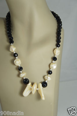 Vintage Faux Mother Of Pearl Black Crystals Bead Necklace 24''