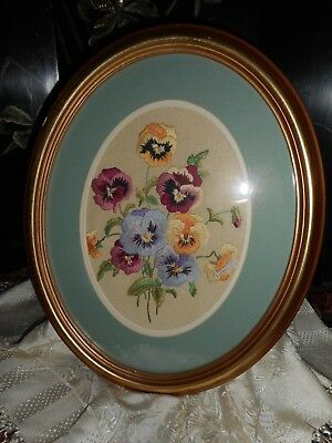 Beautiful vintage hand embroidered pansy picture in oval gilded wooden frame