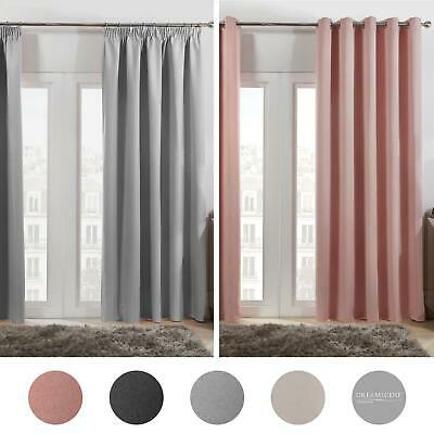 Dreamscene Pair of Eyelet OR Pencil Pleat BLACKOUT Curtains Thermal Ready Made