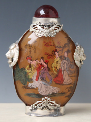 Chinese tibet Silver Glass Inside Painting Belle Dian Chan Snuff Bottle