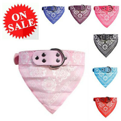 Small Dog Collar Adjustable Cute Bandana Style Soft Leather Collar Neckerchief