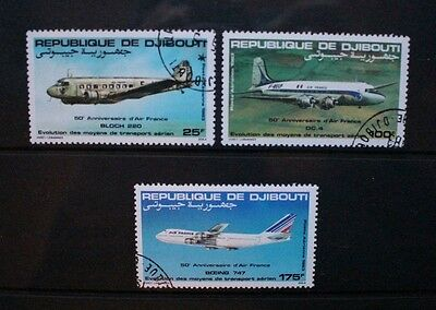 DJIBOUTI 1983 Air France Aircraft. Set of 3. Fine USED/CTO. SG875/877.