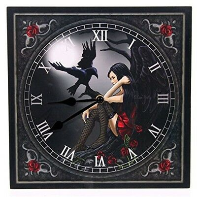 Puckator Clock - Dark Angel With Raven - Wall Fantasy Gothic