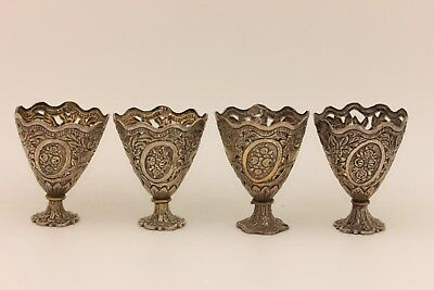 Antique Original Silver Islamic Ottoman Amazing 4 Pieces Cup