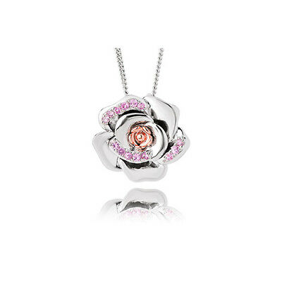 BRAND NEW Welsh Clogau Silver & Rose Gold Rose Pink Sapphire Pendant £100 off!