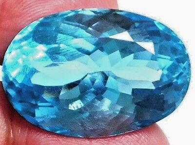 NATURAL OVAL BLUE TOPAZ GEMSTONE LOOSE GREAT 64Cts - 29 x 19.5 mm w/ CERTIFICATE
