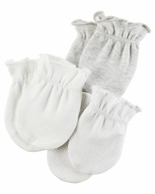 New Carter's 3 Pack Baby Mittens size 0-3 months NWT 100% Cotton Girls Boys Gray