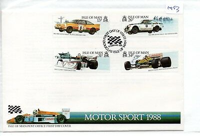 Isle Of Man - First Day Cover - Fdc -1483- 1988  Motor Sport