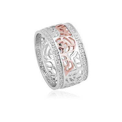 NEW Official Welsh Clogau Silver & Rose Gold Royal Roses Ring £60 off! SIZE L