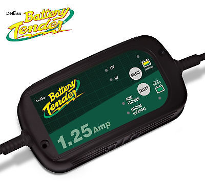 BATTERY TENDER SELECTABLE 1.25AMP CHARGER - FOR- AGM, Lead Acid, GEL, or Lithium
