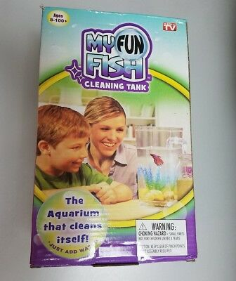 My Fun Fish Self Cleaning Tank Ages 8+ Just add Water & Fish New in box Rocks !!
