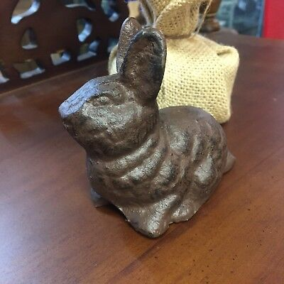 Small Cast Iron Bunny Rabbit Statue Figure Paperweight Hare Garden Figurine Yard
