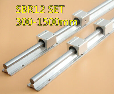 SBR12 300-1500mm Shaft Rod Rail Set 2X Linear Rail With 4X SBR12UU Bearing