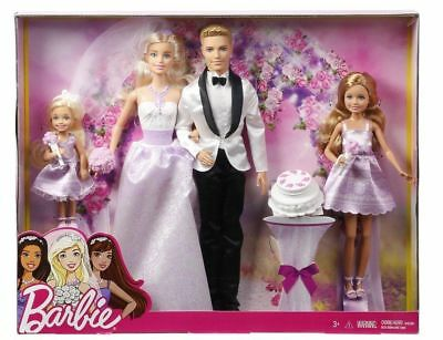 Barbie Dolls Wedding Set Ken Stacie Chelsea Figures Bride Groom S Playset