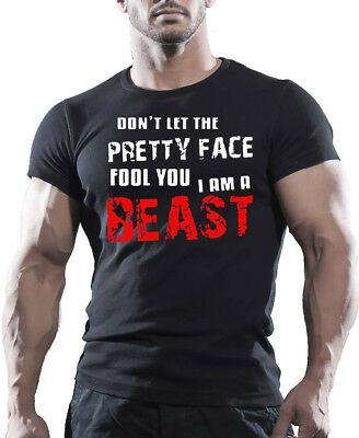 BEAST Mens MMA GYM BODYBUILDING MOTIVATION T-Shirt WORKOUT CLOTHING TRAINING TOP
