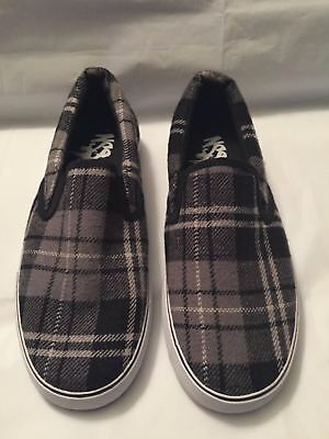 NWOB  Men's 7 NSS Black White Plaid Flannel Sneakers slip on Women's 9 shoes NEW