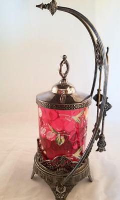 Antique Silverplate Pickle Castor Handpainted Cranberry Glass Insert James Tufts