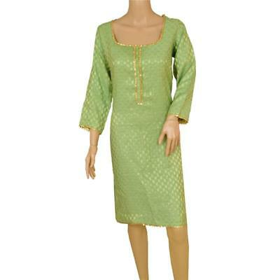 Sanskriti Vintage Pure Silk Woven Long Top Kurta Indian Green Gota Work