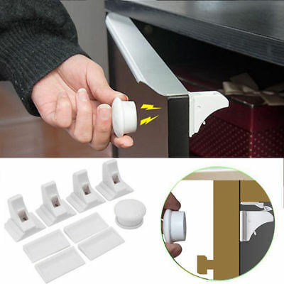 4X Invisible Magnetic Baby Child Pet Proof Cupboard Door Drawer Safety DIY Lock