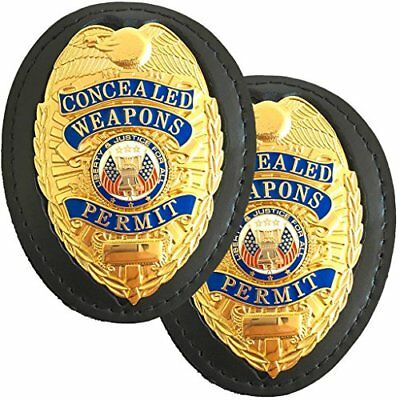 2 Pack Police Security Leather Recessed Shield Badge Holder Neck Chain Belt Clip