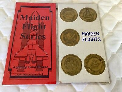 Vintage Space Shuttles Maiden Flights Commemorative Bronze Coins SEALED