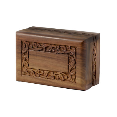 Rosewood Cremation Urn - 2nd Quality - Bargain! - Small Size - Border Design