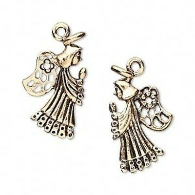 2 Antiqued Gold Pewter 26x14mm Double Sided Praying Angel Charms *