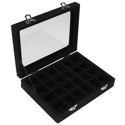 Compartments Wooden Jewellery Box Rings Necklace Display Storage Case Black