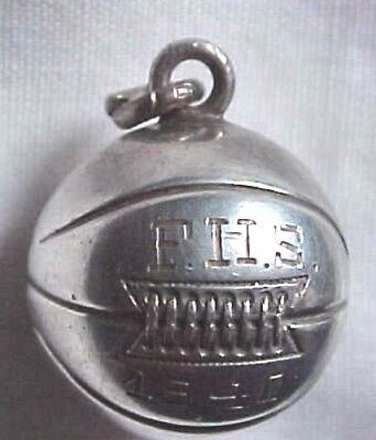 Sterling Silver Basket Ball -vintage almost antique- charm-marked F.H.S. 1940