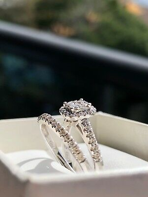 9ct White Gold 0.50ct Diamond Wedding Bridal Ring Set RRP $1,399 Size L