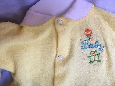 Vintage Babygro Terry Cloth Baby Sleeper 11-17 lbs. 1970s Yellow Embroidery