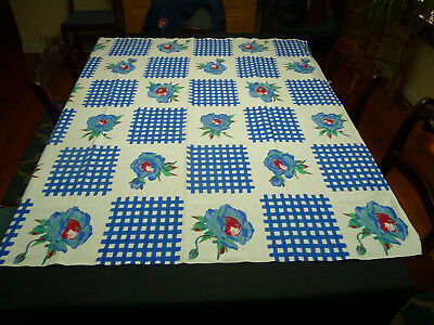 Vintage Cotton Print Tablecloth White w/Blue Flowers and Checkerboard