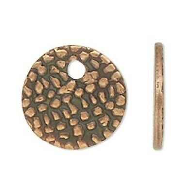 100 Antiqued Copper Plated Brass 7mm Textured Coin Drop Charms