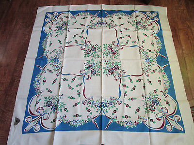 """Vtg NWT Hand Printed Cotton Floral Tablelcoth 48x50"""" LOVLEY"""