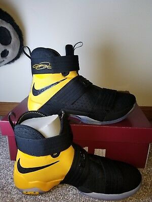 the latest c7c60 d4973 MENS NIKE LEBRON Soldier 10 SFG Basketball Shoes Sz 10 Black Yellow 844378  007