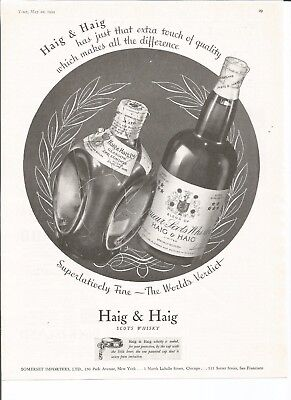 1934 Vintage Print Ad for Haig and Haig Scotch Whiskey
