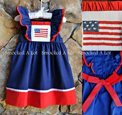 boutique Fourth of July 4th * New Flag smocked bishop dress 3m 6