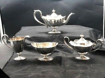 4 piece dominick and half sterling tea set, matches gorham Plymouth pattern