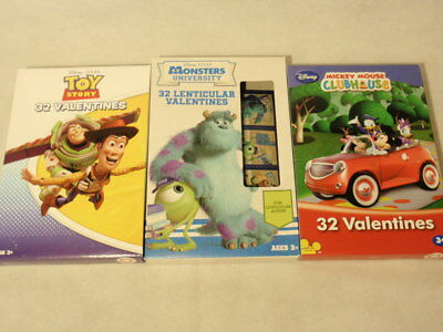 3 Packages Disney Valentine Cards Toy Story Monsters University