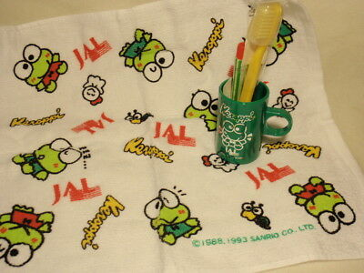 JAL Japan Airlines Sanrio Keroppi Wash Cloth Towel & Toothpaste Cup Toothbrush