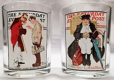 Norman Rockwell Glass THE SATURDAY EVENING POST The Partygoers & Muggleton Coach