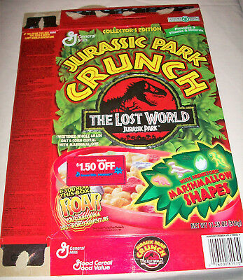 Jurassic Park CRUNCH The Lost World Cereal Box c.1997 collapsed flat film movie