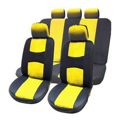 9pcs Universal Car Seat Covers Full Auto Seat Protection Dustproof Cover Yellow