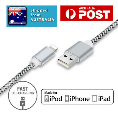 Heavy Duty iPhone Charging Cable Nylon Cord iPhone 5s 6s 7 iPad iPod 1m Silver