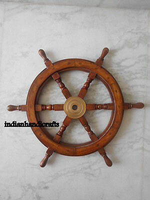 Vintage Antique New Wooden Marine Decor Shipwheel Steering 24 Inch Sailor's Gift