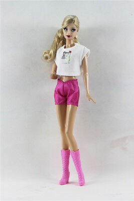 3in1 Fashion Outfit T-Shirt +Shorts+Boots  FOR Barbie Doll Clothes
