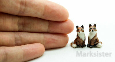 Figurine Animal Miniature Ceramic Statue Tiny 2 Brown Fox - CWT001