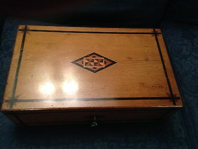 Early 20th century writing box or slope with inlaid wooden decoration