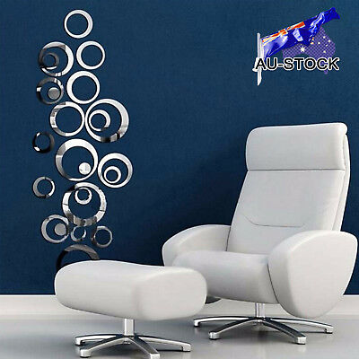 DIY 3D Mirror Circle Decal Wall Sticker Self-Adhesive Art Mural Living RoomDecor